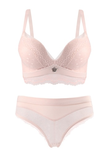 ZITIQUE pink Comfortable Sexy Lace Non-steel Ring Bra-Pink 9BF00US185F703GS_1