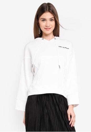 JACQUELINE DE YONG white Class Embroidery Hood Sweatshirt 36BB7AA30420BCGS_1