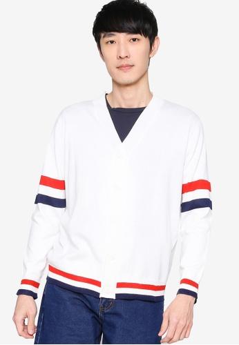 ZALORA BASICS 白色 Contrast Stripe Cardigan A013BAAF1694BAGS_1