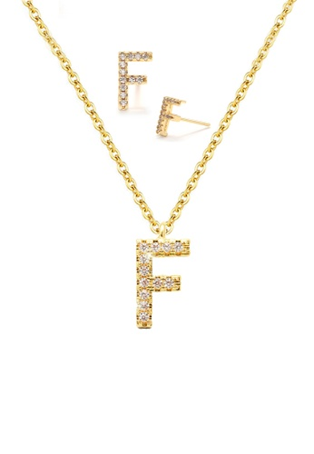 """Atrireal gold ÁTRIREAL - Initial """"F"""" Necklace + Earrings Jewellery Set in Gold 9D6BAACF818EF2GS_1"""