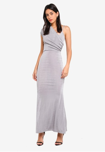 c23dd54f2dd49 MISSGUIDED silver Slinky One Shoulder Wrap Front Maxi Dress  030C1AAE924208GS 1