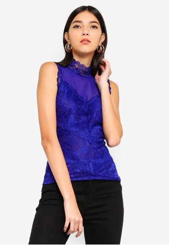 ba82b6098664 Buy Guess Mansfield High-Neck Sleeveless Lace Top Online on ZALORA Singapore