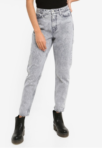 9bdc1680 Buy TOPSHOP Grey Acid Wash Mom Jeans Online on ZALORA Singapore
