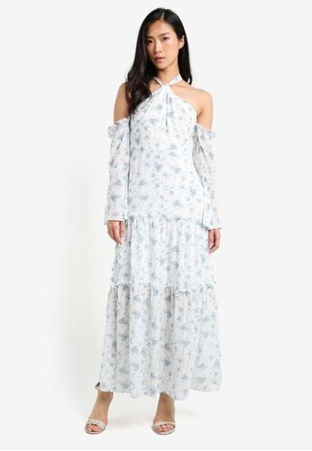 Preen & Proper white Halter Cold Shoulder Maxi Dress PR614AA0RZBFMY_1