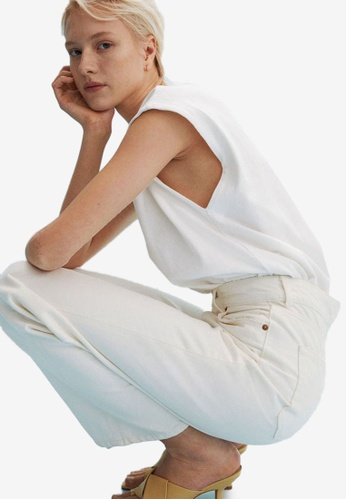 H&M white Wide High Jeans E2ABAAA1806C74GS_1