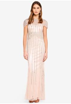 ddec8eafc5fd Goddiva beige Sunray Hand Embellished Maxi Dress 00D02AA0B25EC5GS 1