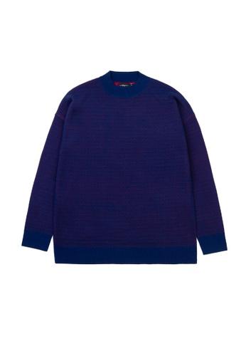 KLAPS navy Merino Round Neck Sweater 26A2BAAE173D08GS_1
