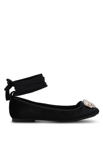 Velvet black Embellished Lace Up Ballerina Flats B8779SH33BE569GS_1
