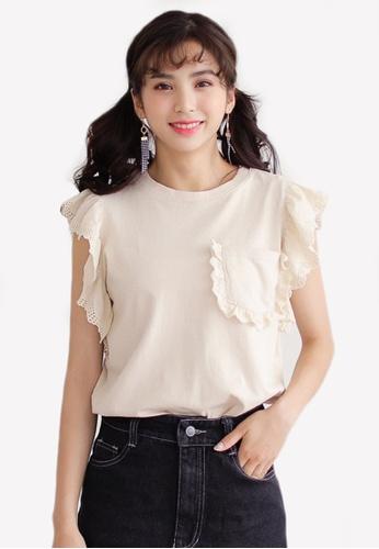 Shopsfashion 米褐色 Pocket Ruffles Sleeves Top SH088AA0RWZBMY_1