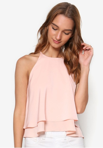 Something Borrowed pink Double Layer Top 8D143AA58EE891GS_1