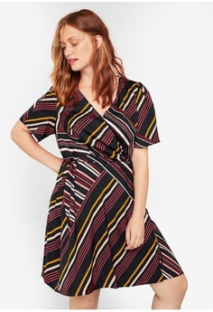 110d450db997d Violeta by MANGO. Plus Size Striped Wrap Dress