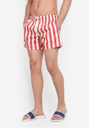 MANGO Man red Striped Swim Trunks 36B41AA4BA4B18GS_1