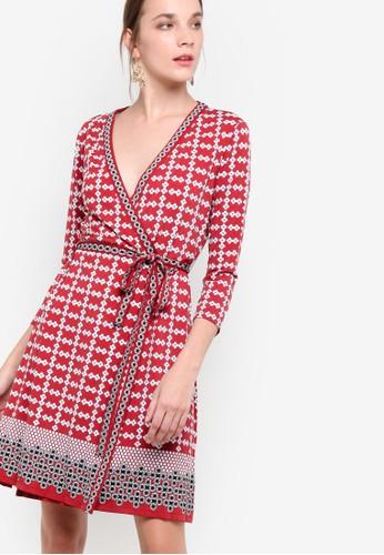 七分袖裹飾印花連身裙,zalora 衣服尺寸 服飾, 洋裝
