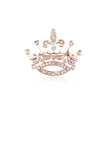 Glamorousky white Fashion and Elegant Plated Gold Crown Brooch with Cubic Zirconia 80BE3ACF6A4581GS_1