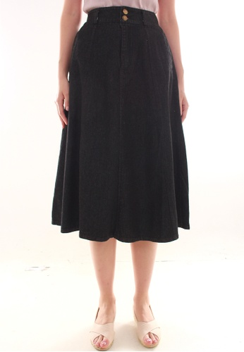 JOVET black Panel Denim Skirt JO914AA0FXXXSG_1