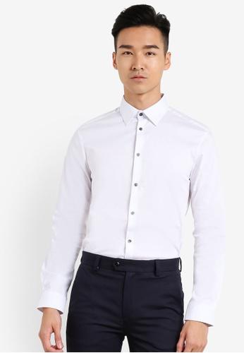 Burton Menswear London white White Muscle Fit Shirt BU964AA03XNOMY_1