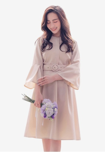 YOCO pink Belted Trumpet Sleeves Dress 627F8AAD6BCAADGS_1