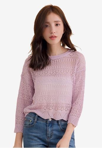 Kodz purple O-Neck Long Sleeve Mesh Crop Knitted Top 81FDCAAAEDFC02GS_1