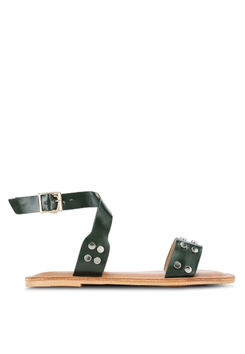 Something Borrowed green Studded Ankle Wrap Sandals 34D07SH4F0EC87GS_1