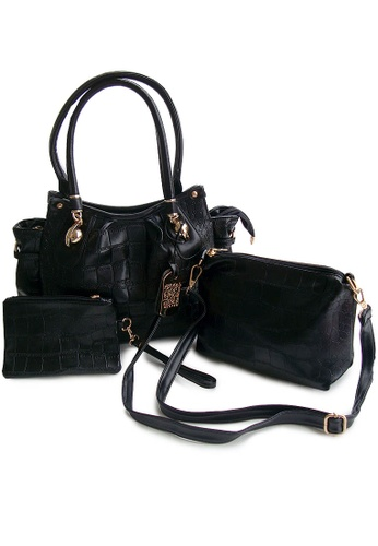 LULUGIFT black Black Fushion Plate Bag 3in1 Set LU989AC83IWUMY_1