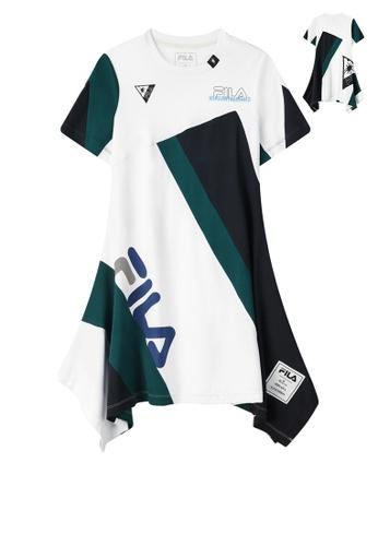FILA white FILA x Maison MIHARA YASUHIRO Logo Color Blocks Asymmetric Cotton Dress 6E15AAA2BBDCAEGS_1