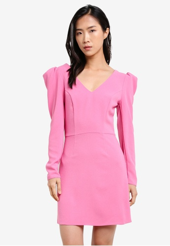Miss Selfridge pink Pink Puff Shoulder Shift Dress MI665AA0S2KWMY_1