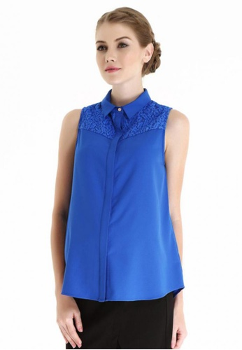 Bove by Spring Maternity blue Woven Sleeveless Crystal Shirt Blouse ITN5002 SP010AA75SAESG_1