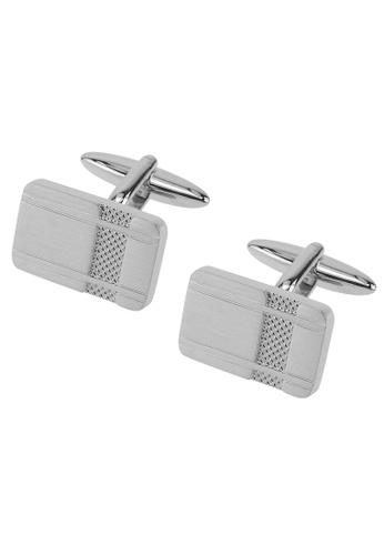 CUFF IT silver Brushed Silver Etched Texture Cufflinks CU047AC2UXTIHK_1