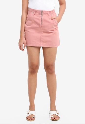 TOPSHOP pink Petite Half Zip Denim Skirt 2D855AA15BB3A1GS_1