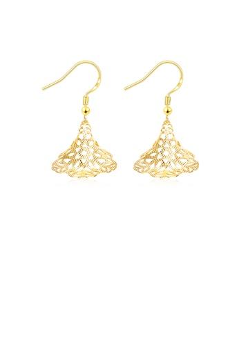 Glamorousky silver Fashion Golden Flower Shaped Pierced Earrings 9ED66ACDE2196CGS_1