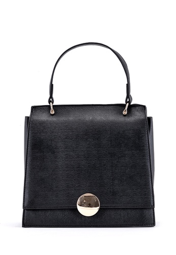 Vince black Women Modern Retro Top Handle Bag PU Leather Satchel Handbag(Black) FL898AC50EIVMY_1