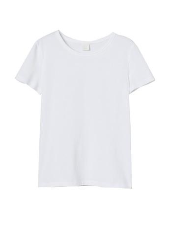 H&M white Jersey Top DA523AA8BBC3E3GS_1