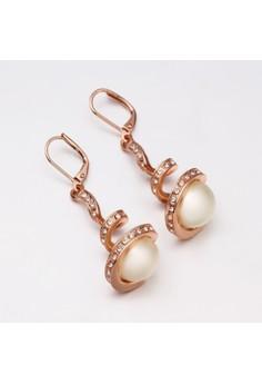 Treasure by B&D E011 Plated Spiral Pearls Dangle Earrings Eardrop