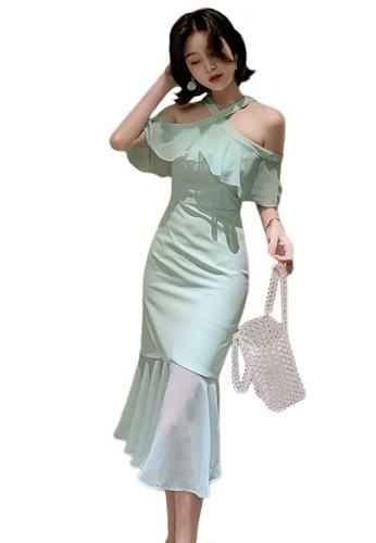 Sunnydaysweety green Korean Style Halterneck Chiffon Ruffled One Piece Dress A21022251 167FDAA5760603GS_1