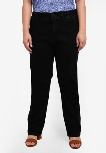 Ex'otico black Plus Size Elastic Band Jeans EX373AA0RUVRMY_1