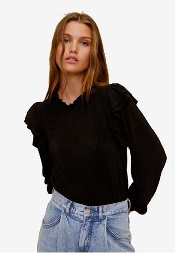 Mango black Ruffles Pleated T-Shirt 28F78AAE9A0A3FGS_1