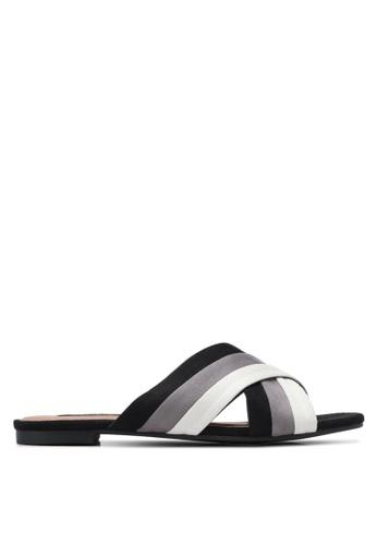 ZALORA black Cross Strap Sandals 4182ESH2AA8D12GS_1