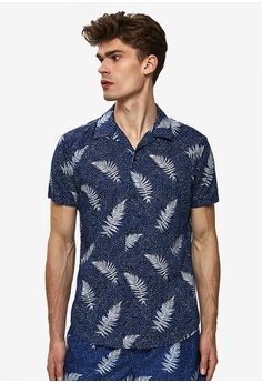 d8a1717bf2 Selected Homme blue Tokyo Resort Inspired Short Sleeve Shirt  72490AAF7BF577GS_1