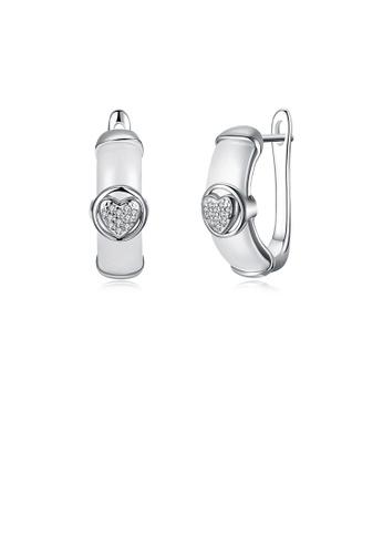 Glamorousky white 925 Sterling Silve White Ceramic Elegant Noble Heart Shape Earrings with Cubic Zircon 5D2B6ACC677ACEGS_1