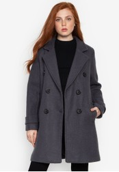 Well Suited grey Double Breated Wool Short Trench A42E0AA273FBDAGS_1