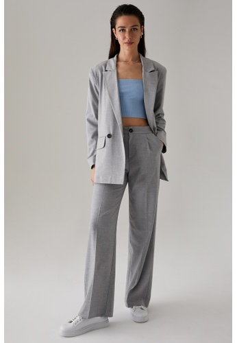 DeFacto grey High Waist Wide Leg Trousers AB2DCAAEF072C7GS_1