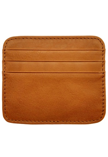 LUXORA brown The Ninja Co. Top Grain Leather Card Sleeve Holder Wallet Purse Case Stationery Accessory Gift DB912AC54D205AGS_1