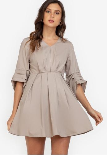 ZALORA WORK beige Ruched Sleeves Fit & Flare Dress 69109AA594B70BGS_1