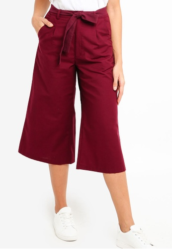 ZALORA red High Waist Wide Leg Culottes BA5EAAA1780C43GS_1