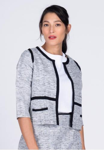 Apple & Eve black Cropped Tweed Casual Jacket CD7EAAAE82451EGS_1