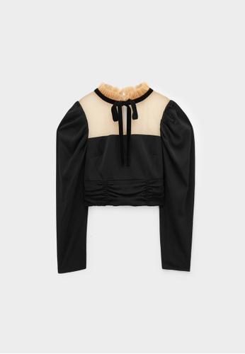 Pomelo black Mock Neck Puffed Sleeves Top - Black B51BBAAC63931FGS_1