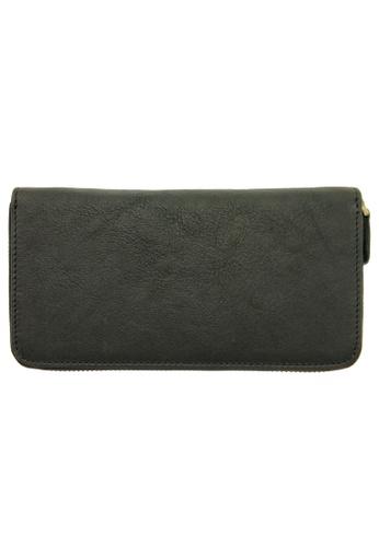 LUXORA black The Ninja Co. Top Grain Leather Long Zip Wallet Coin Card Purse Black 689B0AC909D71EGS_1