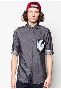 3/4 Sleeve Shirt With Tropical Weave Pocket