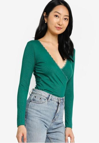 ZALORA BASICS green Long Sleeves Lace Wrap Top AF159AA999CC89GS_1