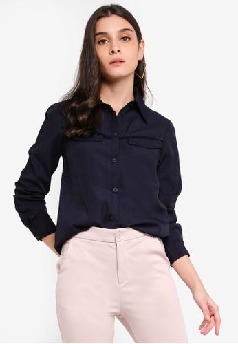 ZALORA 海軍藍色 Long Sleeves Shirt With Fringe Details 008B9AA9D9D846GS_1